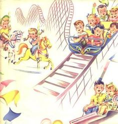 Vintage Juvenile Wrapping Paper Kids Carnival Rides 1940s Gift Wrap