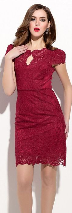 Red Capped Sleeves Sheath Dress