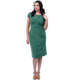 Stop Staring! Plus Size Green Timeless Fitted Wiggle Dress