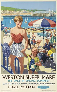 HARRY RILEY (1895-?) WESTON - SUPER - MARE. Circa 1960. 40x24 3/4 inches, 101 1/2x63 cm. Waterlow & Sons, Limited, poster