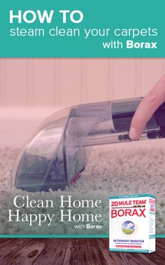 #CleanHomeHappyHomeWithBorax Use ½ cup of 20 Mule Team Borax per gallon of water in carpet steam cleaning machines.