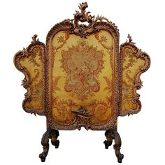 Antique French Carved Giltwood Tapestry Tripartite Fire Screen