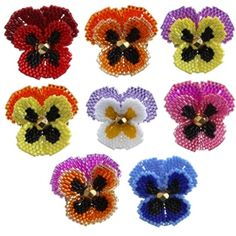 Bead Pattern: Pansy Flower Beaded Brooch