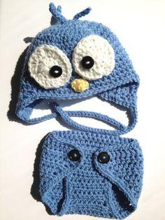 Baby hat set wacky bird hat blue diaper by BloomingRoseCrochet