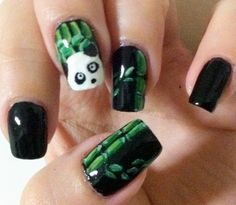 Thinking about doing this for prom !(:    LINK : http://www.funkyfashiontrend.com/panda-funky-nail-art/