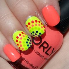 Brand: Orly // Collection: Adrenaline Rush // Colors: Push the Limit and Glowstick Rainbow dotticure over neon nails // Artist: ajloveslacquer