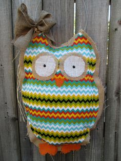 Owl Burlap Door Hanger Door Decoration Mixed Media Chevron Pattern. $28.00, via Etsy.