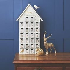 White And Gold Wooden Advent Calendar House Advent Calendar House, Advent House, Wooden Advent Calendar, Advent Calendars, Noel Christmas, Christmas Is Coming, Christmas Projects, Christmas Ornaments, Xmas