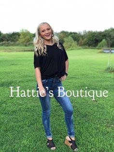 Black Boyfriend Vneck Tee – Hattie's Boutique Panther Leopard, V Neck Tee, Boyfriend, Pullover, Boutique, Tees, Collection, Black, Women