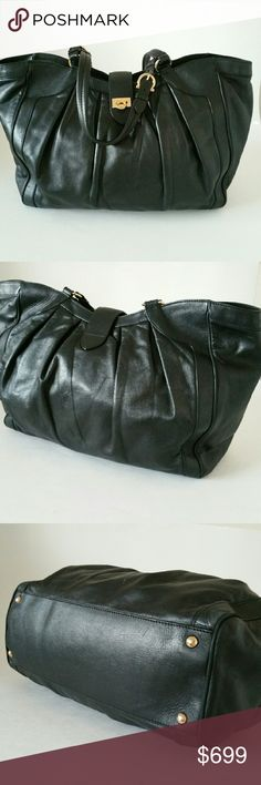 """Salvatore Ferragamo Black Leather Handbag Authentic handbag from Salvatore Ferragamo in black soft leather, chic and elegant,  perfect for any outfit , very soft genuine leather, lining signature logo fabric,  hardware gold, top zippered closure,  one interior pocket. Been worn very gentle, exelent condition. Coming with dust bag. Dimensions are 14 """" x 12"""" x 5"""" Salvatore Ferragamo Bags Satchels"""