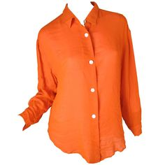 Pre-owned Todd Oldham Orange Silk Blouse with Pink Lining ($150) ❤ liked on Polyvore featuring tops, blouses, blouses and tops, shirts, silk blouses, silk shirt, shirts & tops, orange shirt and silk top