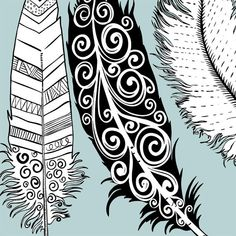 Hand Drawn Feather Clip Art Feather Silhouette & by FishScraps