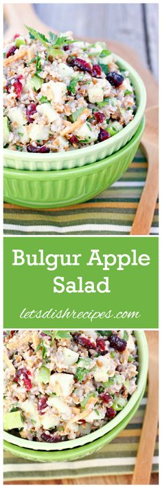 Bulgur Apple Salad with Cranberries and Almonds | Bulgur wheat, green apples, dried cranberries, almonds, green onion, fresh herbs and a yogurt and lemon dressing come together in this delicious salad recipe.