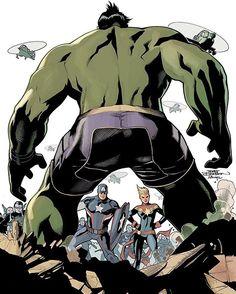 Boom!  Totally Awesome Hulk #9 cover Rachel Dodson inks and pencils/colors by Terry Dodson  #marvelcomics #racheldodson #terrydodson #comicbookart #civilwarII #hulk #captainamerica #captainmarvel #photoshop