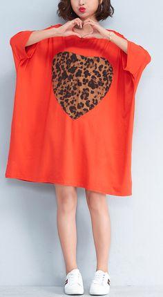 803eeca18d Beautiful o neck baggy Cotton clothes Women Fashion pattern orange Plus  Size Dresses Summer