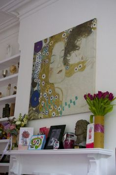 Mantlepiece art and flowers