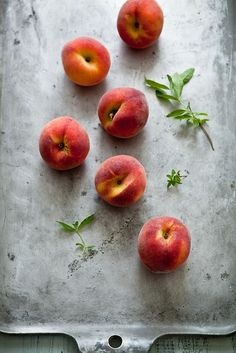 Love the grey contrasting with the rosy peaches.