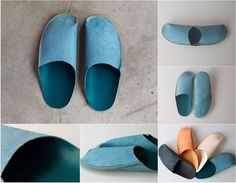 DIY handmade house slippers made from leather Simple DIY Homemade Slippers for Home