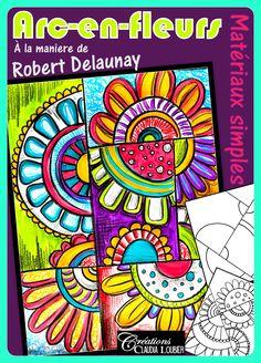 Voici un projet avec des matériaux simples, pour le printemps ou la fête des mères.  À la manière de Robert Delaunay.  Nous y verrons différentes façons de colorier avec nos crayons de feutre et de bois. Une feuille d'exercices nous aidera à nous diversifier.  Un projet pour tous. Au préscolaire au secondaire. Chacun apportera sa dose de créativité !  Mettons de la couleur dans nos écoles et dans nos vies ! Swing Painting, Cute Dinosaur, Robert Delaunay, Mothers Day Crafts, Art Lesson Plans, French Artists, Art Plastique, Skull Art, Geometric Shapes