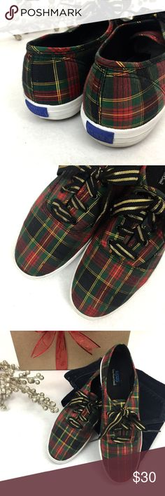 Keds    Holiday Edition Christmas time is here! And these Keds are begging to be a part of your holiday wardrobe! Give new life to a black skater skirt, or wear with some skinnies. In excellent, like new condition. Color: black, red, green, metallic gold Keds Shoes Sneakers