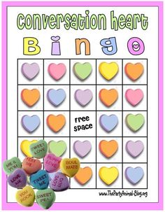 SWEET! - Practice reading skills with candy conversation hearts. Game instructions and a free printable template at the site.