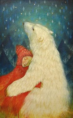 """Limited edition giclée print of original painting by Lucy Campbell - """"magical pelt"""" — Lucy Campbell Paintings Art And Illustration, Art D'ours, East Of The Sun, Inspiration Art, Bear Art, Whimsical Art, Fantasy Art, Fairy Tales, Art Photography"""