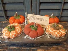 Gathering of Primitive Handmade Pumpkins in Vintage Muffin Tin - Fall/Harvest