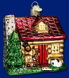 """Item 20026 Lake Cabin 3.25""""  tall. Cabins and cottages, nestled in villages and throughout the countryside, often represent the heritage and culture of the glass-blowers. This little Lake Cabin ornament serves as a reminder of all the special times spent by the lake. They say that if you are lucky enough to spend time at a  cabin, you are truly lucky! #oldworldchristmas #theamericanway #logcabin"""