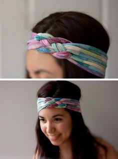 T-Shirt Headband....I was just wondering what I could make out of one my t-shirts...cool!.! Sewing Crafts, Diy Crafts, Sewing Diy, Summer Headbands, T Shirt Headbands, No Sew Headbands, How To Make Headbands, Homemade Headbands, Bandanas