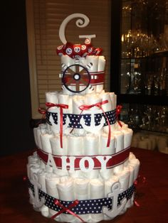 """""""Ahoy it's a boy"""" diaper cake for a baby shower"""