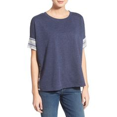 Caslon Short Sleeve Mixed Media Tee ($44) ❤ liked on Polyvore featuring tops, t-shirts, heather navy, crew-neck tee, crew t shirt, crew neck t shirt, navy t shirt and print tee