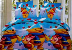 Winnie the Pooh and Piglet Bed Sheet Kids cartoon glace cotton bedsheet