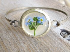 Forget Me Not Bracelet Blue Pressed Flowers Bridal by KateeMarie for flower girl gifts