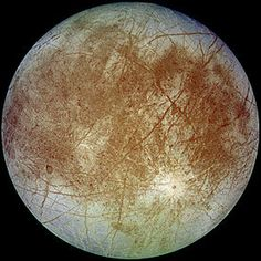 "Europa. It's covered in ice and is one of the smoothest objects in the Solar System. The small number of craters shows that the surface is young, possibly only a 100 million years old. (That's young geologically.) In this picture you can see that there are also cracks and streaks. The cracking is caused by tidal heating, but we don't know exactly what the staining is.  ©Mona Evans,""Jupiter's Galilean Moons"" http://www.bellaonline.com/articles/art42279.asp"