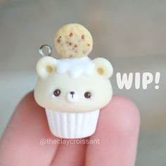 Incredibly Amazing Milk and cookie bear cupcake DIY charm!, Incredibly Amazing Milk and cookie bear cupcake DIY charm! Fimo Kawaii, Polymer Clay Kawaii, Fimo Clay, Polymer Clay Projects, Polymer Clay Charms, Polymer Clay Jewelry, Clay Crafts, Polymer Clay Cupcake, Polymer Clay Figures