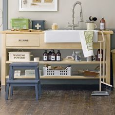When it comes to housing a utility room sink, a large open storage unit is ideal. With extra worktop space, hidden storage and shelves, you'll have plenty of room to get your jobs done, all the while keep your cleaning products and laundry essentials close by.