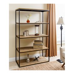 Features:  -Wood color: Natural.  -Material: Wood and iron.  Style: -Contemporary.  Product Type: -Etagere.  Finish: -Distressed black.  Frame Material: -Metal.  Shelving Included: -Yes.  Shelf Materi