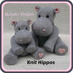 (6) Nombre: 'tejido: Knit hipopótamos