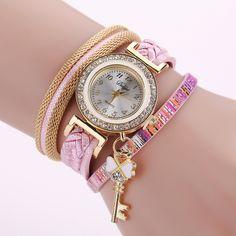 Cheap watch brand, Buy Quality watch f directly from China watch fashion Suppliers: Duoya Brand Fashion Women Quartz Watches Luxury Key Leather Braid Magnet Wrist Watches