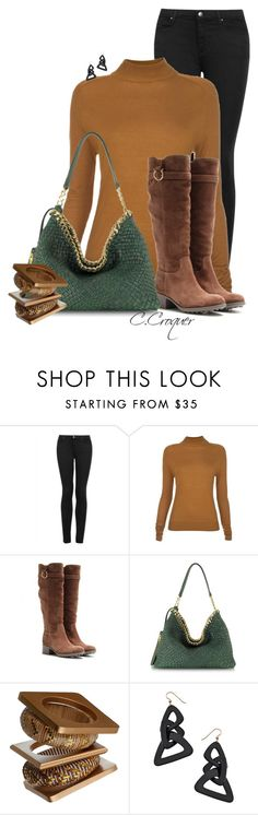"""Mustard+Green+Brown"" by ccroquer ❤ liked on Polyvore featuring Topshop, Paul Smith, Salvatore Ferragamo, Ghibli and Lisa August"