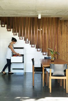 Wood and Glass stairway  - beautiful - Waverley Street House by Klopper & Davis Architects | HomeAdore