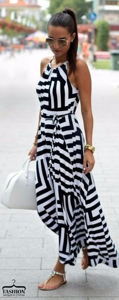 cca0415a3d33 awesome Latest fashion trends  Summer look Monochrome striped maxi dress  with flat sandals