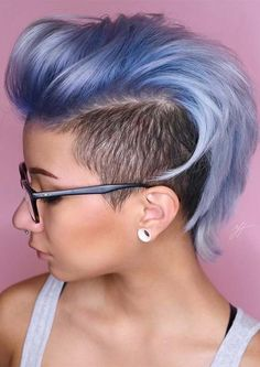 In this post you can see the bold styles of ice metallic blue colored undercut hairstyles for bold women and girls for Ladies who wanna wear fa Short Hairstyles For Thick Hair, Short Straight Hair, Short Pixie Haircuts, Short Hair Cuts, Curly Hair Styles, Cool Hairstyles, Natural Hair Styles, Pixie Cuts, Wavy Hair