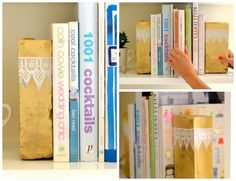 diy: lace silhouette bookends...
