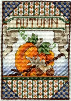 Fall, and Counted Cross Stitch Fall Cross Stitch, Mini Cross Stitch, Cross Stitch Needles, Cross Stitching, Cross Stitch Embroidery, Embroidery Patterns, Cross Stitch Designs, Cross Stitch Patterns, Halloween Cross Stitches
