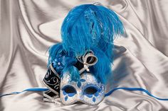 Blue Luxury Masquerade Masks. Decorated with Feathers, jester headdress and pearls - VENEZIA JOLLY SILVER