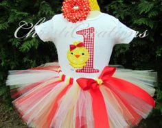 First Birthday tutu set--Baby Chick-- 1st Birthday Tutu Set--Baby Girl Party Outfit--Personalized