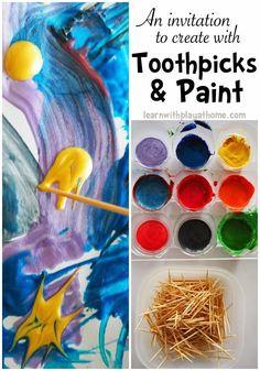 Toothpicks and Paint. Invitation to Create