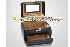 Vintage Black Leather Jewelry Box with Drawers - http://www.thepackagingpro.com/products/vintage-black-leather-jewelry-box-with-drawers/