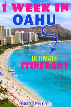 Are you ready to plan a one week Oahu Itinerary?Great! I will do my best to help you. I love Hawaii! This is really the best Oahu itinerary if this is your first time to Hawaii or if you just want to do the most popular things on the island! | Planning Away @planningaway #oahu #hawaiivacation #familvacationhawaii #bestthingstodoonoahu #oahumustdo #visitoahu #planningaway